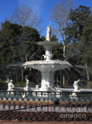 Forsythe Fountain Savannah Framed Prints - Savannah Square Fountain Framed Print by Carol Groenen