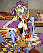 Woman Relaxing Prints - Save An Apple Eat A Peach Print by Anthony Falbo