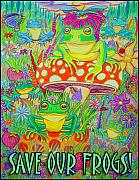 Mushrooms Drawings Posters - Save Our Frogs Poster by Nick Gustafson