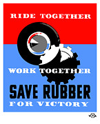 World War 2 Mixed Media Metal Prints - Save Rubber For Victory Metal Print by War Is Hell Store