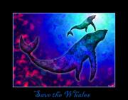Whale Digital Art Framed Prints - Save the Whales Framed Print by Nick Gustafson