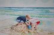 Sand Castles Painting Metal Prints - Saving the Sand Castle From the Tide Metal Print by Tom Harris