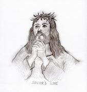 Jesus Drawings Prints - Saviors Love Print by Sonya Chalmers