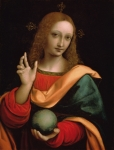 Long Hair Paintings - Saviour of the World by Giovanni Pedrini Giampietrino