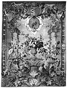 Parrot Tapestries - Textiles Metal Prints - SAVONNERIE PANEL c1800 Metal Print by Granger