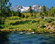 Sawtooth Mountains Metal Prints - Sawtooth Mountains Valley Creek Metal Print by Ed  Riche