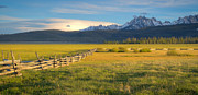 Sawtooth Mountains Metal Prints - Sawtooths and Fence Metal Print by Idaho Scenic Images Linda Lantzy