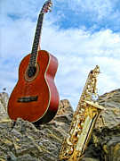 Alto Saxophone Posters - Sax and Guitar Poster by Jason Abando