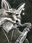 Saxophone Drawings - Sax Fox by Scott Alberts