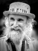White Beard Metal Prints - Sax Man in Black and White Metal Print by Jen White