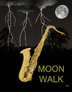 Rhythm And Blues Art - Sax Moon Walk by Eric Kempson