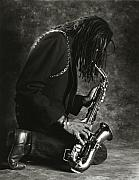 Saxophone Photos - Sax Player 1 by Tony Cordoza