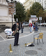 Saxophone Photos - Sax Player in Budapest by Madeline Ellis