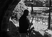 Saxaphone Prints - Sax Player in Central Park Print by Allan Einhorn