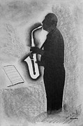 Saxophone Drawings - Sax Player Silhouette by Miguel Rodriguez