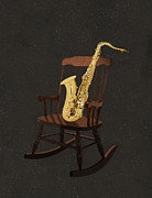 Music Mixed Media Prints - Sax Rocks Print by Eric Kempson