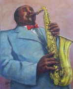 Band Painting Originals - Sax Solo by Edward Farber