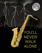 Greece Mixed Media Prints - Sax Youll Never Walk Alone Print by Eric Kempson