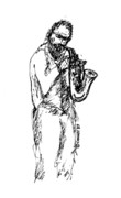 Saxophone Drawings - Saxman by Sam Chinkes