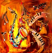 Amazing Sunset Paintings - Saxohone by Mark Kazav