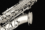 Music Photos - Saxophone Black and White by M K  Miller