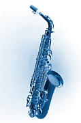 Music Prints - Saxophone Blue Tint Print by M K  Miller