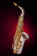 Stretched Canvas Metal Prints - Saxophone on Red Spotlight Metal Print by M K  Miller