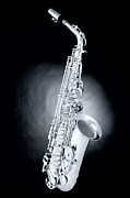 Music Prints - Saxophone on Spotlight Print by M K  Miller