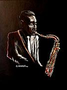 Black Tie Paintings - Saxophone player by Amos Harper