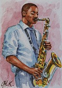 Christine Karron Metal Prints - Saxophone Player Metal Print by Christine Karron