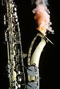 Horns Posters - Saxophone with smoke Poster by Garry Gay