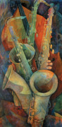 Player Painting Posters - Saxophones And Bass Poster by Susanne Clark