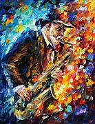 Musicians Painting Originals - Saxophonist by Leonid Afremov