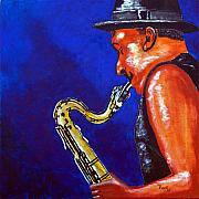 Sax Painting Originals - Saxy Jazz by Richard Roselli