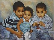 Little Boys Acrylic Prints - Say Cheese Acrylic Print by Harvie Brown