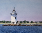 Connecticut Painting Framed Prints - Saybrook Lighthouse Framed Print by Sharon Farber