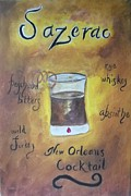 Sazerac Cocktail Paintings - Sazerac by Marian Hebert