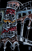 Night Lamp Drawings Prints - SCaLA Del BoVoLO Print by Arte Venezia
