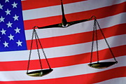 Authority Photos - Scales of Justice and American flag by Sami Sarkis