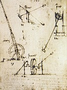 Leonardo Sketch Prints - Scaling Ladder By Leonardo Da Vinci Print by