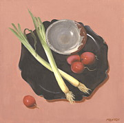 Sake Paintings - Scallions and Radishes by Meredith Dytch