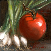 Vegetables Paintings - Scallions and Tomato by Addie Hocynec