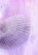 Seashell Digital Art Prints - Scallop Sea Shell in Purple Print by Betty LaRue