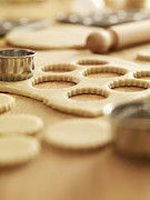 Cookie Prints - Scalloped Cookie Cutters And Sugar Cookie Dough Print by Adam Gault