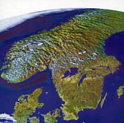 Aerial Photograph Photos - Scandinavia, Composite Satellite Image by Science Source