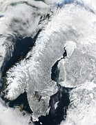 February Ocean Prints - Scandinavia, Terra Modis Satellite Image Print by NASA / Science Source