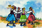 Jumping Mixed Media Framed Prints - Scandinavian Dancers Framed Print by Kathy Braud