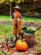 Pumpkin Posters - Scarecrow and Pumpkin Poster by Susan Savad