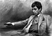 Scarface Pastels Framed Prints - Scarface 2 Framed Print by Ylli Haruni