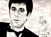 80s Drawings Framed Prints - Scarface Framed Print by Michael Mestas